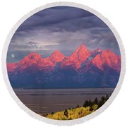 Teton Moonset Round Beach Towel