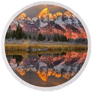 Teton Mountains Sunrise Rainbow Round Beach Towel