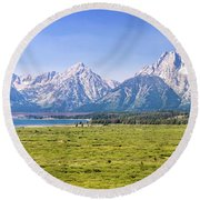 Teton Panorama Round Beach Towel