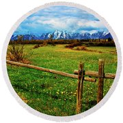 Round Beach Towel featuring the photograph Teton Park Spring by Norman Hall