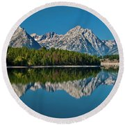 Round Beach Towel featuring the photograph Teton Reflections by Gary Lengyel