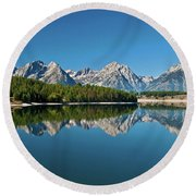 Round Beach Towel featuring the photograph Teton Reflections II by Gary Lengyel