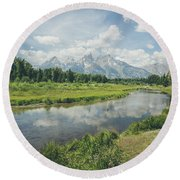 Round Beach Towel featuring the photograph Teton Reflections by Margaret Pitcher