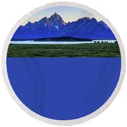 Round Beach Towel featuring the photograph Teton Sunset by David Chandler