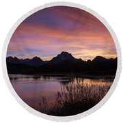 Teton Sunset Round Beach Towel