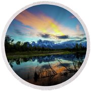 Round Beach Towel featuring the photograph Teton Sunset by Norman Hall