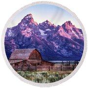 Tetons And Barn Round Beach Towel
