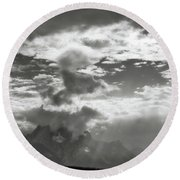 Tetons And Storm Clouds Round Beach Towel
