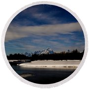 Tetons At Moonlight Round Beach Towel