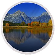 Tetons From Oxbow Bend Round Beach Towel