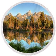 Tetons Reflection Round Beach Towel