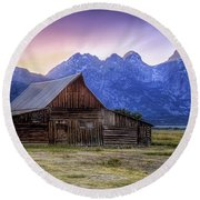 Tetons Sunset Round Beach Towel