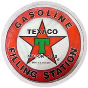 Texaco Sign Round Beach Towel