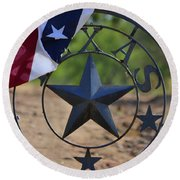 Texas And The Red White And Blue Round Beach Towel by Nadalyn Larsen