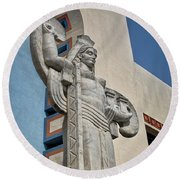 Round Beach Towel featuring the photograph Texas Art Deco Sculpture by David and Carol Kelly