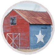 Texas Barn With Goats And Ram On The Side Round Beach Towel