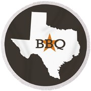 Round Beach Towel featuring the digital art Texas Bbq by Nancy Ingersoll