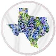 Texas Blue Texas Map On White Round Beach Towel