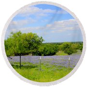 Round Beach Towel featuring the photograph Texas Bluebonnet Field by Kathy White