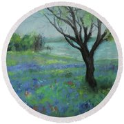 Round Beach Towel featuring the painting Texas Bluebonnet Trail by Robin Maria Pedrero