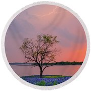 Texas Bluebonnets And Lightning Round Beach Towel