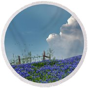 Round Beach Towel featuring the photograph Texas Bluebonnets And Spring Showers by David and Carol Kelly