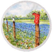 Texas Bluebonnets Boot Fence Round Beach Towel