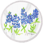 Texas Bluebonnets Watercolor Painting By Kmcelwaine Round Beach Towel