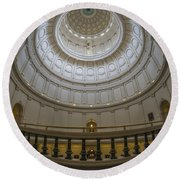 Texas Capitol Dome Wide Angle Round Beach Towel