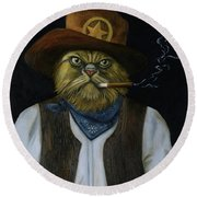 Texas Cat With An Attitude Round Beach Towel by Leah Saulnier The Painting Maniac
