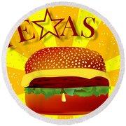 Texas Cheeseburger Round Beach Towel