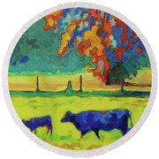 Texas Cow And Calf At Sunset Print Bertram Poole Round Beach Towel