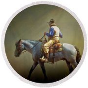 Round Beach Towel featuring the photograph Texas Cowboy And His Horse by David and Carol Kelly