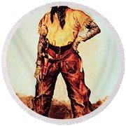 Texas Cowboy Round Beach Towel