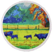 Texas Cows And Calves At Sunset Painting T Bertram Poole Round Beach Towel by Thomas Bertram POOLE