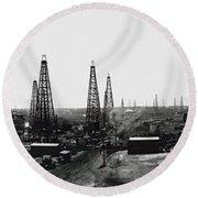 Texas Crude 1919 Round Beach Towel