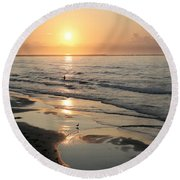 Texas Gulf Coast At Sunrise Round Beach Towel by Marilyn Hunt