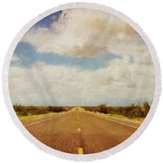 Texas Highway Round Beach Towel