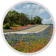 Texas Highways Round Beach Towel