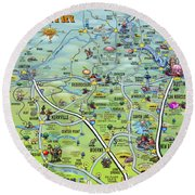 Texas Hill Country Cartoon Map Round Beach Towel