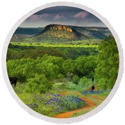 Texas Hill Country Ranch Road Round Beach Towel