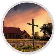 Texas Hill Country Sunset Round Beach Towel