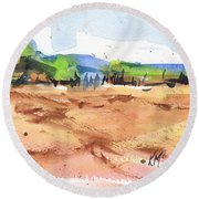 Texas Landscape In Watercolor Painting By Kmcelwaine Round Beach Towel
