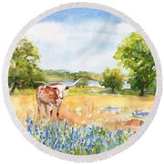 Round Beach Towel featuring the painting Texas Longhorn And Bluebonnets by Carlin Blahnik CarlinArtWatercolor