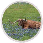 Texas Longhorn And Bluebonnets Round Beach Towel