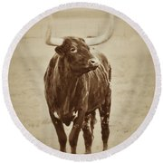 Texas Longhorn And The Windmill Round Beach Towel