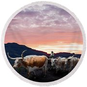Texas Longhorn Orange Morning Round Beach Towel