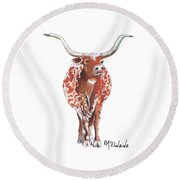Texas Longhorn Taking The Lead Watercolor Painting By Kmcelwaine Round Beach Towel
