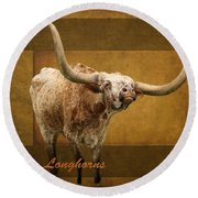 Round Beach Towel featuring the photograph Texas Longhorns by Ella Kaye Dickey