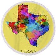 Texas Map Color Splatter 4 Round Beach Towel